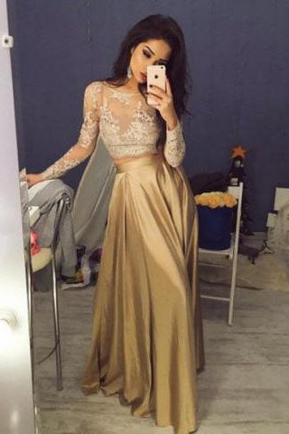 Elegant Long Sleeves Crew Stain Prom Dress/Evening Dress PM652
