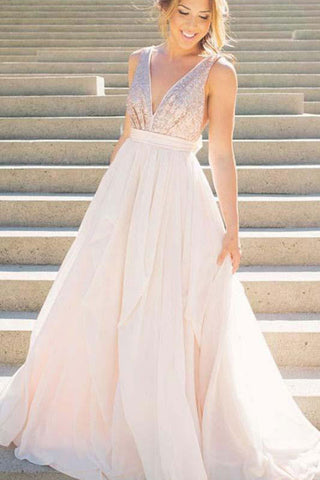 A Line Pink V Neck Sequins Simple Long Cheap Chiffon Backless Sleeveless Prom Dresses PH616