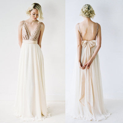 Sequin Sexy Chiffon Long Backless V-Neck Backless Sleeveless A-Line Bridesmaid Dresses PH42