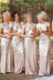 Sequin Short Sleeve Cap Sleeve Mermaid Backless Gold Long Cheap Bridesmaid Dresses PH52