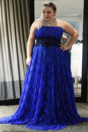 Elegant Straps Blue Lace Sleeveless A-Line Floor-Length Zipper Plus Size Prom Dresses uk PH223