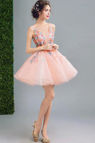 A Line Orange Cheap Ball Gown  Spaghetti Straps Above Knee Flowers Homecoming Dresses uk PH959