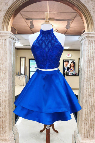 A Line Royal Blue Two Pieces Open Back Beaded Short Prom Dresses,Homecoming Dresses uk PH993