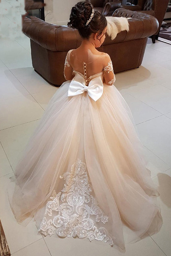 5c919680dd41 Ball Gown Round Neck Light Champagne Tulle Bowknot Flower Girl Dress with  Appliques PM770