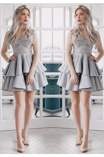 A Line V Neck Backless Satin Beaded Grey Spaghetti Straps Lace Homecoming Dresses uk PH921