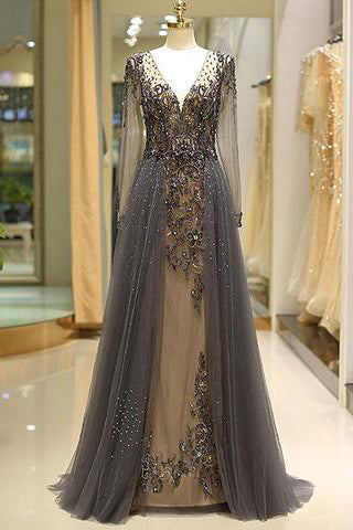 Elegant A Line V Neck Long Sleeves Tulle Grey Prom Dresses uk with Beading PW85