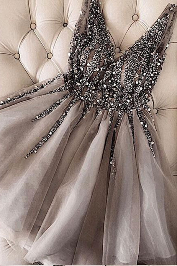 Luxurious Sequins Beaded V Neck Tulle Short V Back Gray Prom Dress,Homecoming Dress PH762