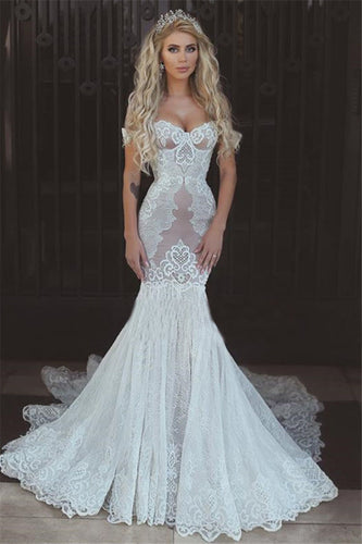 Sexy Queen Mermaid Sweetheart Ivory Lace Off-the-Shoulder Open Back Wedding Dresses UK PH306