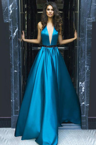 A-line V-Neck Halter Sweep Train Blue Sleeveless Elastic Woven Satin Backless Prom Dress PH445