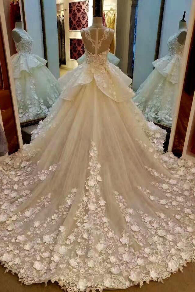 Lace Appliqued And Flowers Chapel Train Pretty Ball Gown Wedding ...
