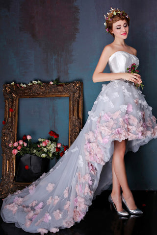Charming Sweetheart Flowers Strapless Tulle Asymmetry Prom Dresses,Wedding Dresses uk PW259