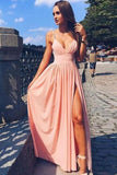 Pink Spaghetti Strap V Neck Simple Long Split Front Chiffon Evening Dress,Prom Dresses PH557