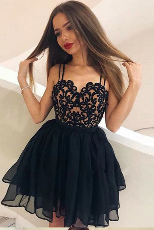 A-Line Straps Backless Short Black Chiffon Open Back Homecoming Dress with Lace Pleats PH799