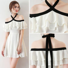 Chic Halter A Line Simple White Off the Shoulder Chiffon Cheap Short Homecoming Dress PH751