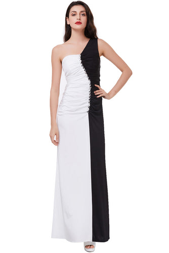 Mermaid Long Black and White Floor Length One Shoulder Beads Ruffles Prom Dresses uk PW265