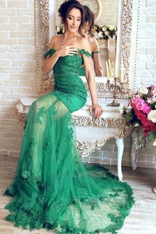 Gorgeous Green Mermaid V-Neck Lace Applique Sequins Beaded Tulle Prom Dresses uk PW131
