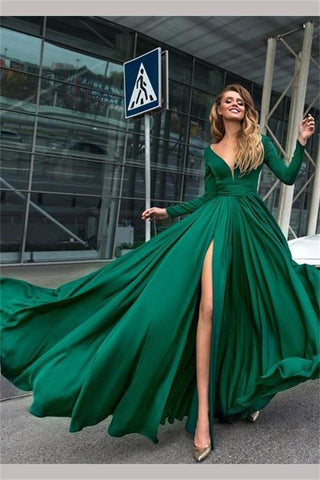 Flowy Long Front Split Green Chiffon Backless Elegant Long Sleeve Prom Dresses uk PW104