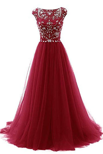 Elegant A Line Burgundy Beads Scoop Tulle Cap Sleeves Long Prom Dresses uk PH874
