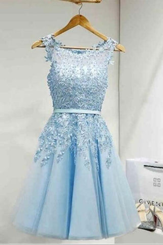 Light Sky Round Neck Tulle Appliques Short Sleeveless Graduation Homecoming Dress PM220