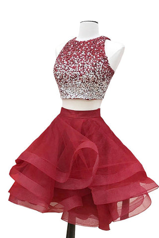 A-line Halter Sleeveless Sweetheart Organza Burgundy Short Prom Dresses, Homecoming Dress PH664