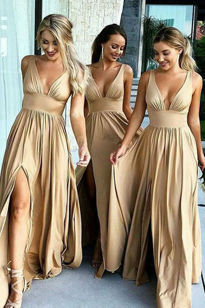 Elegant A-Line V-Neck Elastic Satin Backless Ruffles Sleeveless Bridesmaid Dress with Split PH757