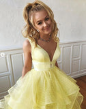 A Line Yellow Multi-layered Polka Dot Organza Prom Dresses Long Sweet 16 Dress P1495