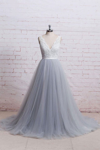 A-Line V-Neck Ivory Lace Bodice Grey Tulle Skirt Chapel Train Appliques Wedding Dress PM287