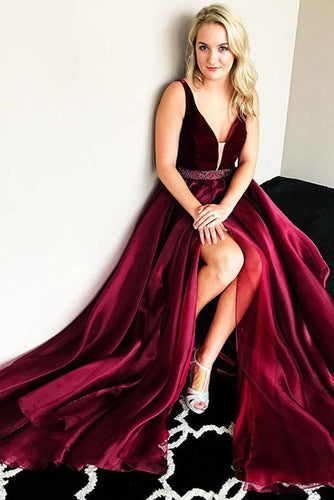 Chic Modest Burgundy  V-Neck Cheap Long Sleeveless Slit Beads Prom Dress UK PH446