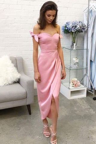A-Line Sheath Pink Off-the-shoulder Silk-like Satin Tea-length Bow Prom Dresses UK PH487