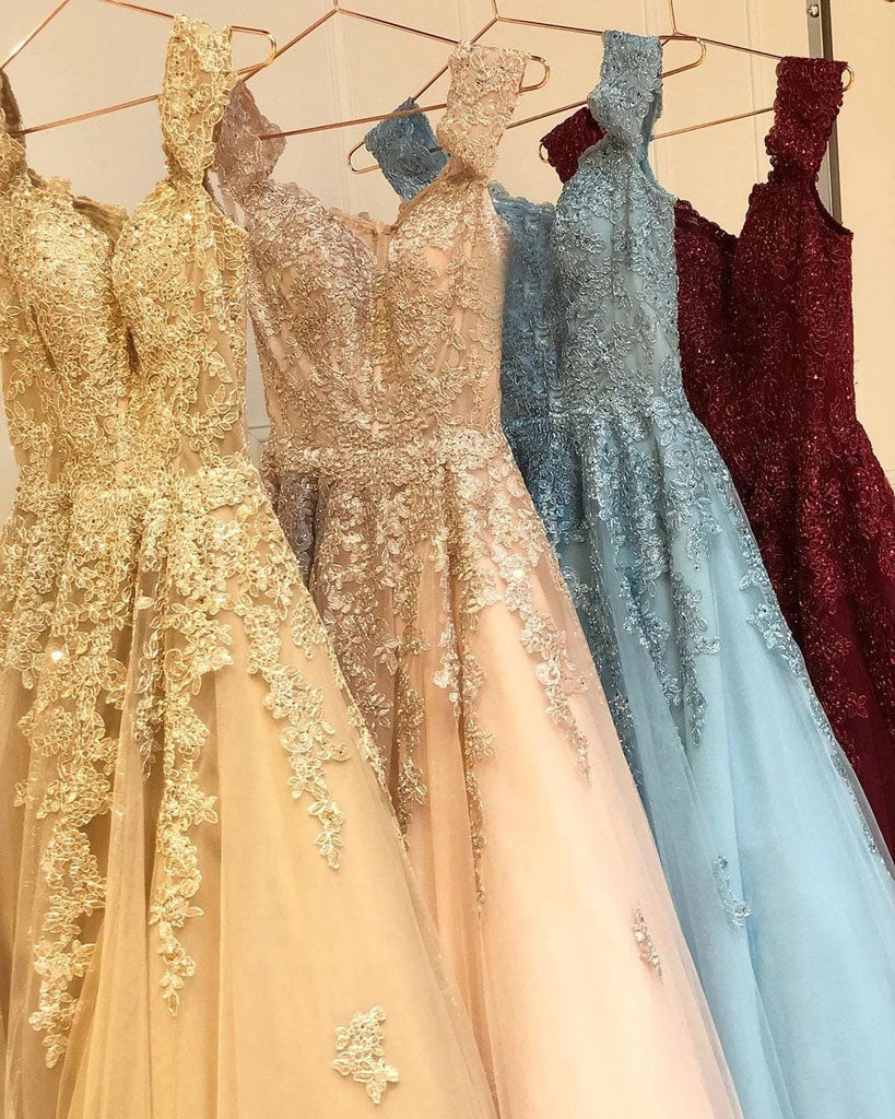 Charming Off the Shoulder Lace Appliques Gold Prom Dresses, Long Party Dresses P1336