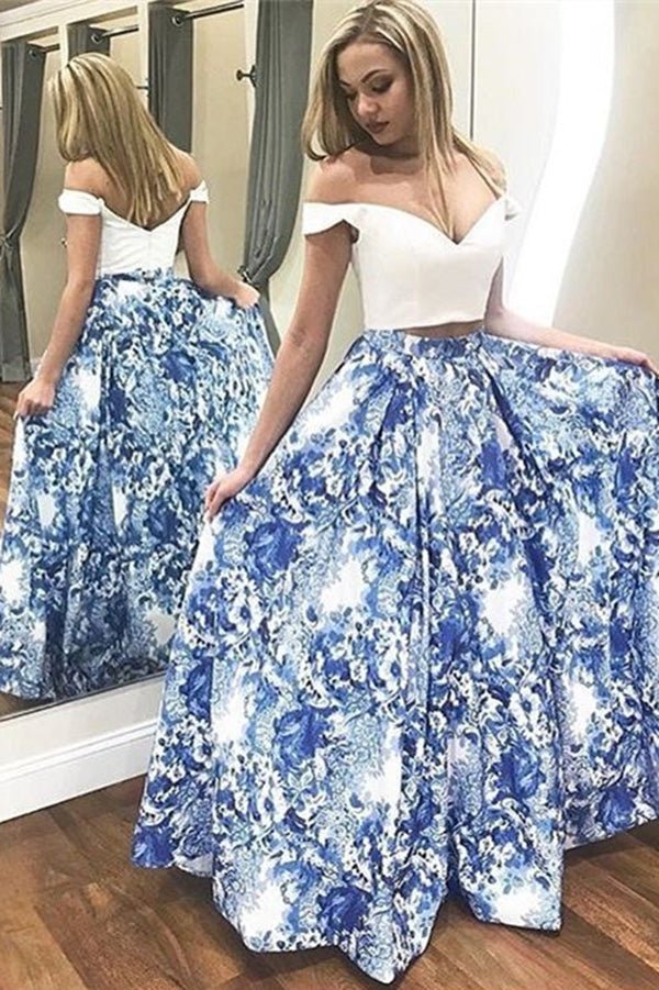 A Line Two Pieces Floral Off the Shoulder V Neck White Long Floor Length Prom Dresses PH771