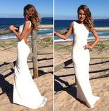 Sheath Backless Custom Made White Backless Mermaid Cheap Sexy Scoop Prom Dresses uk PM363
