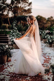 Elegant A Line V Neck Tulle Wedding Dresses with Flowers, V Back Beach Wedding Gowns W1226