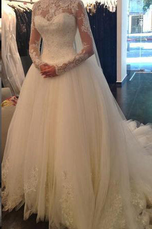 Sexy Lace Long Sleeves Backless A-Line High Neck Tulle Applique Beaded Bridal Gowns PW389