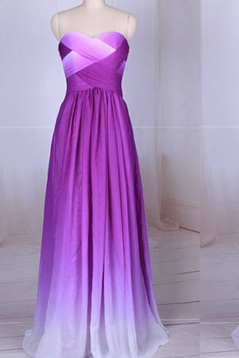 Simple Purple Strapless Sweetheart A-Line Chiffon Ombre Backless Prom Dresses UK PH364