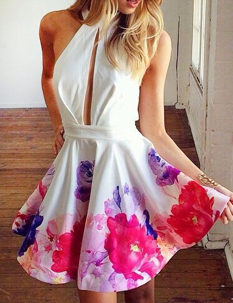 Short Halter Sleeveless Keyhole Homecoming Party Dress Printed Flowers PM118