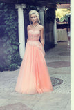 A-Line Strapless Lace Appliqued Floor-length Blush Pink Beaded Tulle Prom Dresses uk PM313