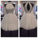 2017 Chic Halter Sexy Open Back White Beading Sleeveless Short Tulle Homecoming Dress PM258