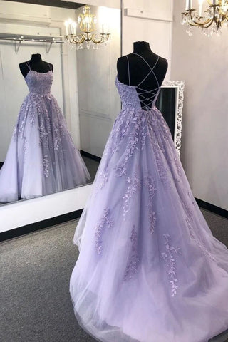 Elegant Ball Gown Lavender Spaghetti Straps Lace up Prom Dresses with Appliques P1548