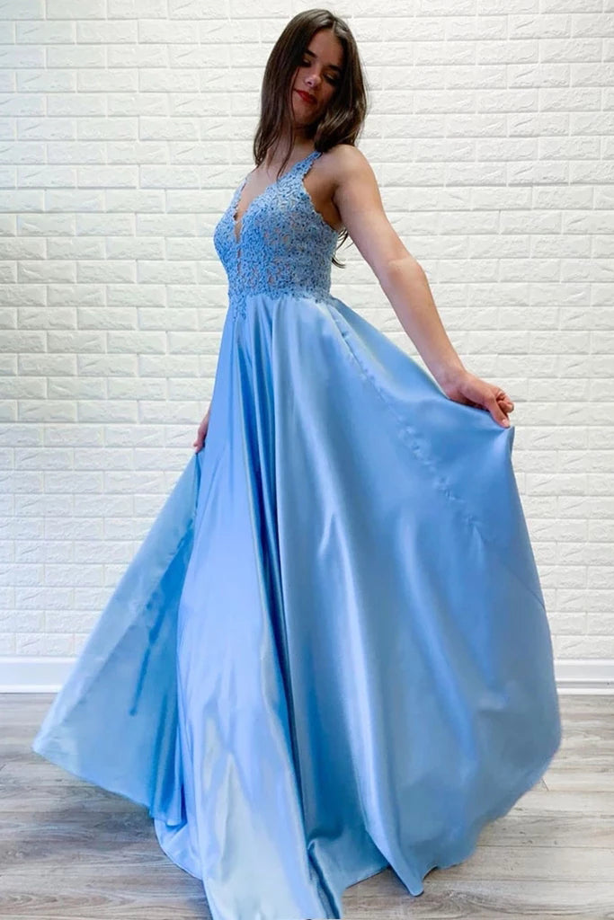 Flowy A-line V Neck Lace Long Prom Dresses Blue Satin Open Back Evening Party Dresses P1292