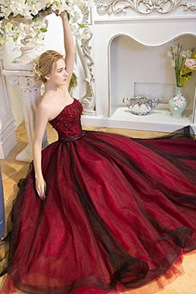 Strapless Beads Tulle Ball Gown Backless Black Burgundy Prom Dress ...