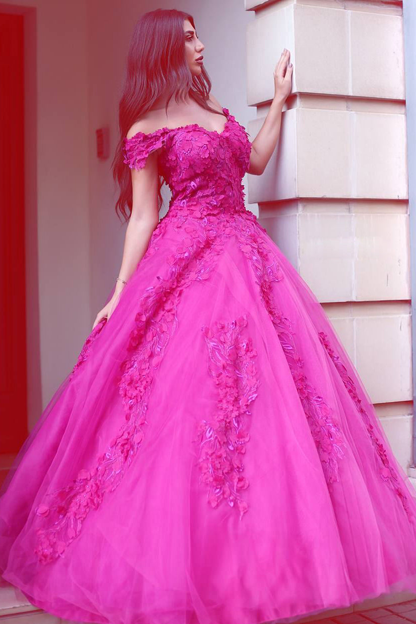 Fuchsia Tulle Off-the-Shoulder Ball Gown Lace Appliques Prom Dress ...