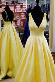 Simple A Line Spaghetti Straps Yellow Satin Formal Dresses, Long Dance Dresses PD17