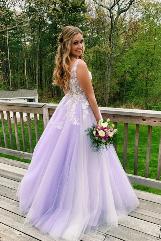 A Line Lilac Appliques V Neck Long Prom Dresses, Long Prom Formal Gowns P1370