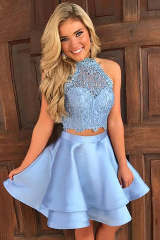 Princess Halter 2 Piece A-line Open Back Sleeveless Lace Mini Short Homecoming Dress PM246