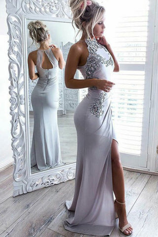 Mermaid High Neck Open Back Elastic Satin Long Grey Prom Dress with Appliques PH656