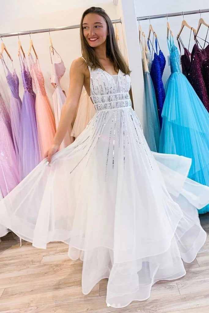 Puffy White V Neck Tulle Sequins Long Prom Dress A Line Backless Evening Dresses P1277