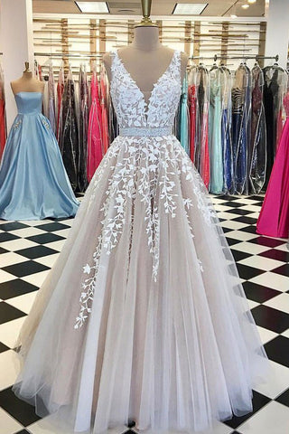 A-Line V-Neck Appliques Open Back Ivory Sleeveless Beads Evening Prom Dresses UK PH465