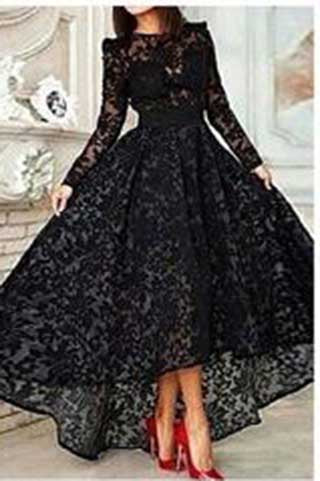 Elegant High Low Black Lace Long Sleeveless Cheap High Neck A-Line Prom Dresses uk PM828