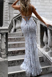 Sexy V-Neck Spaghetti Straps Grey Mermaid Sequined Backless Sleeveless Evening Dresses uk PH239